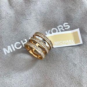 NWT MICHAEL KORS Gold Crystal Ring